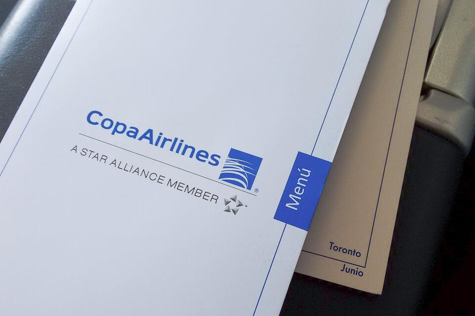Como é voar Copa Airlines? menu da classe executiva (business)