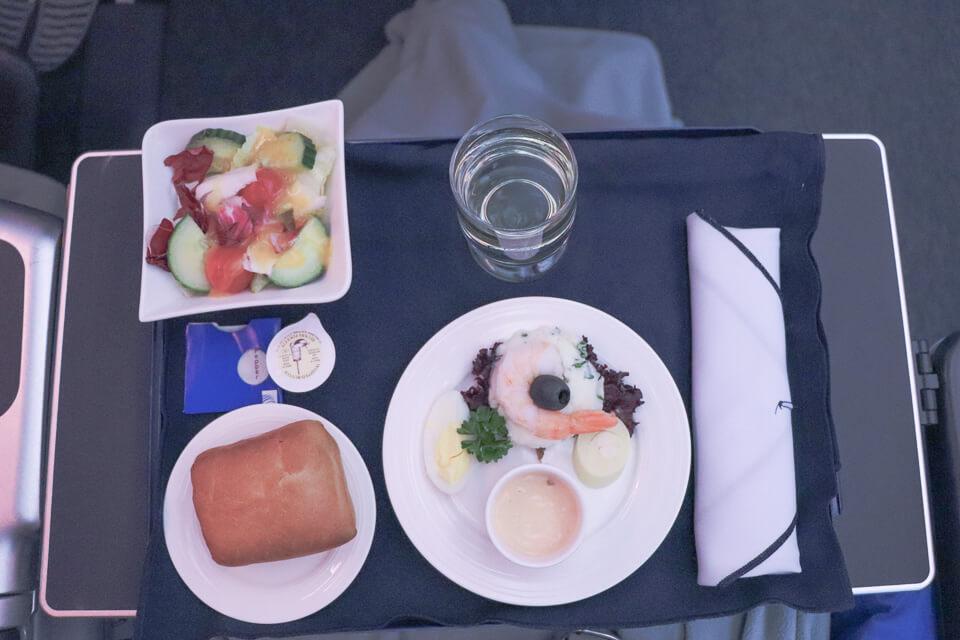 Como é voar Copa Airlines? Almoço da classe executiva (business)