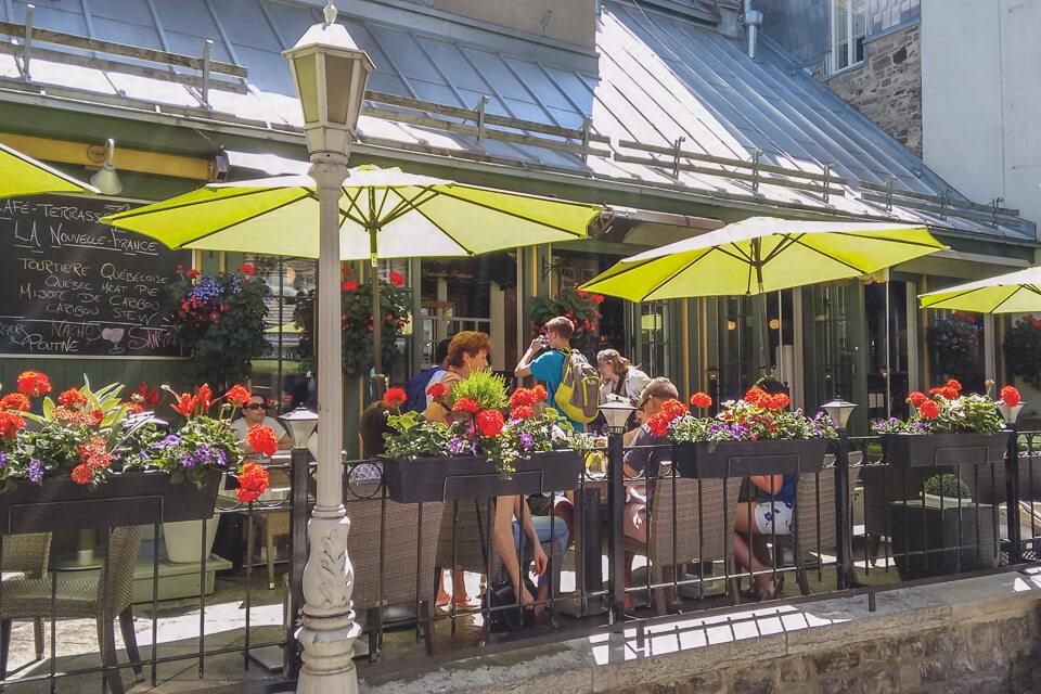 Onde comer em quebec? Café-Terrasse La Nouvelle-France