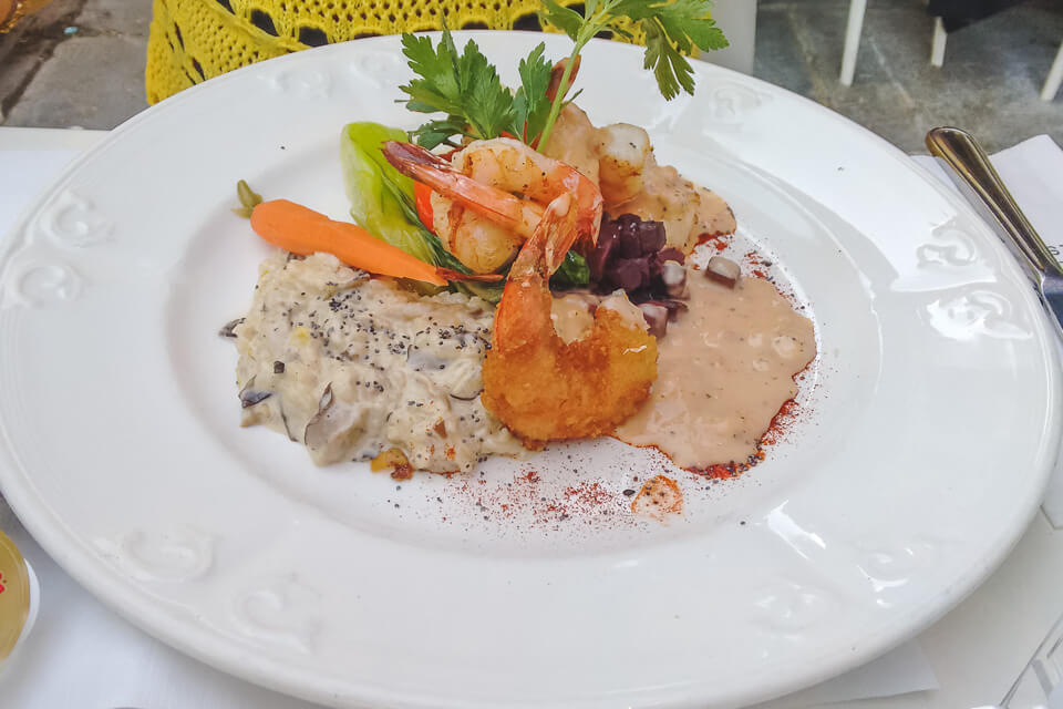 Onde comer em Quebec risoto com camarão e vieiras