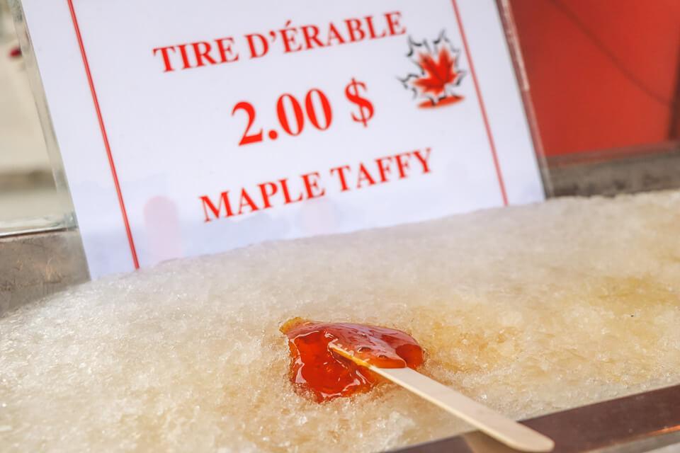 Maple Taffy é um sabor local do canada