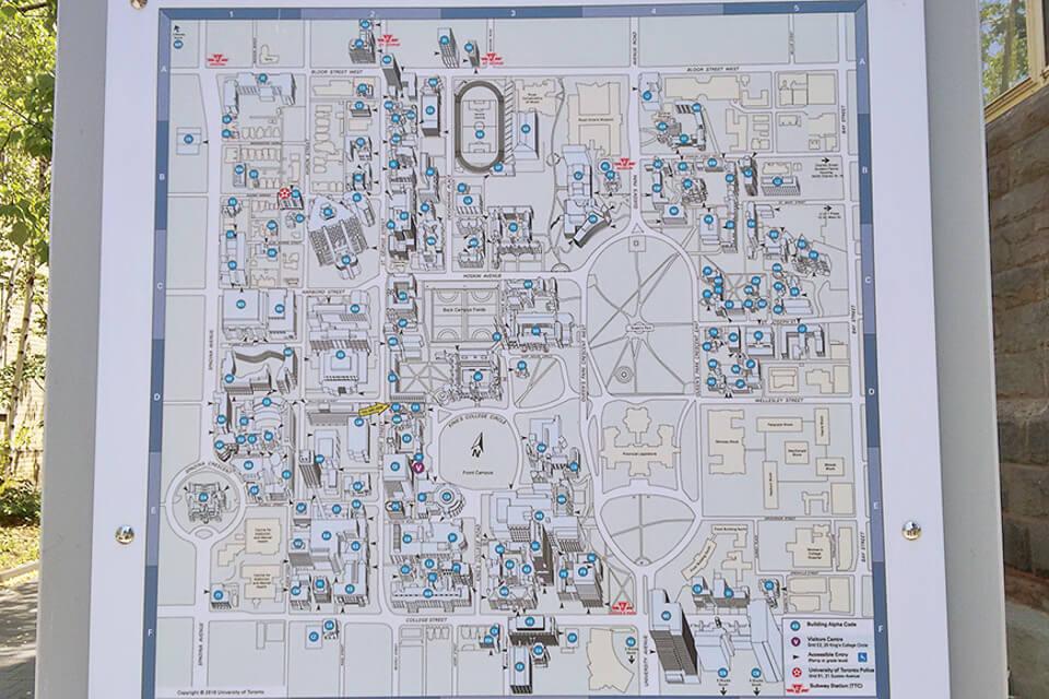 Mapa da Universidade de Toronto (UofT)